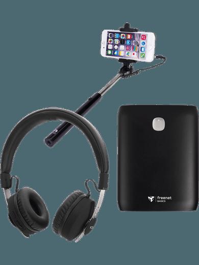 SPARSET: Bluetooth-Over-Ear-Kopfhörer + Powerbank 10.000 mAh + Selfie Stick