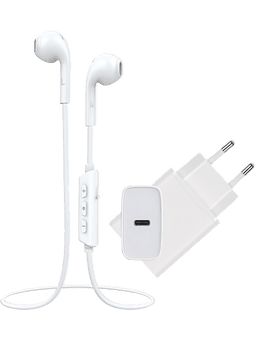 Vivanco Set:  Smart Air 3 Bluetooth-Kopfhörer + Super Fast Charger USB-C (mit Power Delivery 3.0) Vorderseite