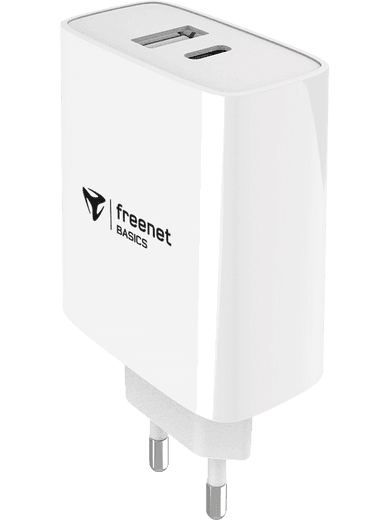 freenet Basics Travel Charger Dual USB-C + USB-A Power Delivery 32W (weiß)