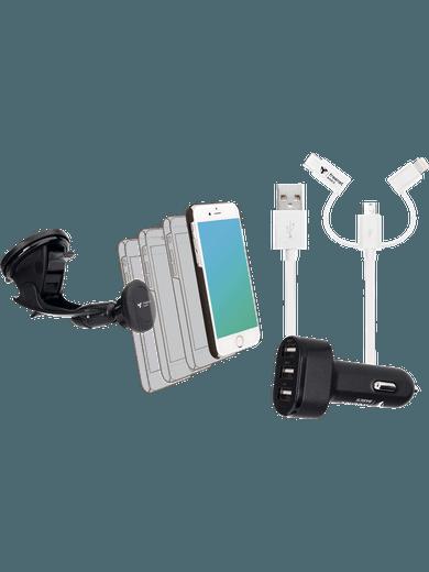 SPARSET: Kfz-Halter + 3er-Ladegerät + 3erKabel USB-C, Micro-USB, Lightning